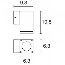 APLIQUE CUB IP54 GU10 MAX.35W 1EM GRIS S
